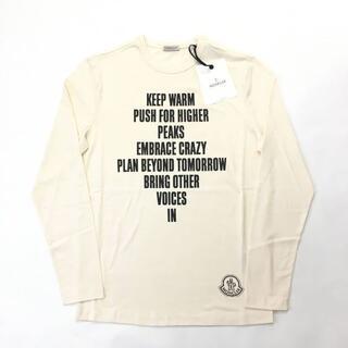 モンクレール(MONCLER)の新品 MONCLER ロゴ レタリング プリント Tシャツ ロンT ホワイト(Tシャツ/カットソー(七分/長袖))