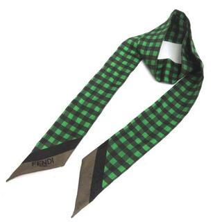 フェンディ(FENDI)のフェンディ W.WRAPPY ラッピー スカーフ リボン チェック 緑 黒(バンダナ/スカーフ)