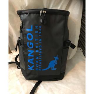 カンゴール(KANGOL)のKANGOL  スクエアリュックブラック/ブルーロゴ ¥8800→¥5500(バッグパック/リュック)