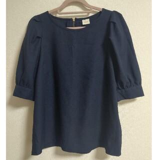 ☆テチチTechichi☆パフスリーブブラウス ネイビー紺 M 5分袖