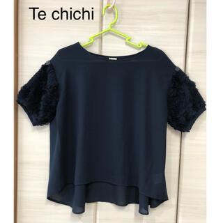 テチチ(Techichi)のテチチ 3Dレース袖ブラウス ネイビー(シャツ/ブラウス(半袖/袖なし))