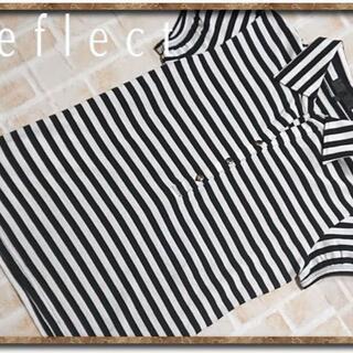 リフレクト(ReFLEcT)のリフレクト ボーダーカットソー 白×黒(カットソー(半袖/袖なし))