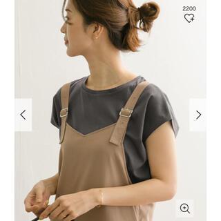 ドアーズ(DOORS / URBAN RESEARCH)の新品タグ付◉ コットンフレンチスリーブカットソー チャコール(Tシャツ(半袖/袖なし))
