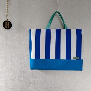 帆布ストライプ ブルー/ブルー×ミントグリーン レッスンバッグ(バッグ/レッスンバッグ)