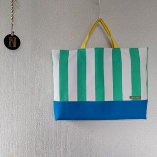 帆布ストライプ エメラルド/ブルー×ミントグリーン レッスンバッグ(バッグ/レッスンバッグ)