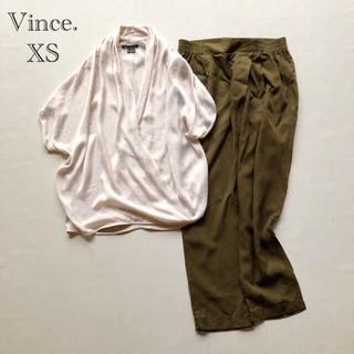 Vince - 633ヴィンス とろみ五分袖カシュクールブラウス ミルクティーベージュ XS