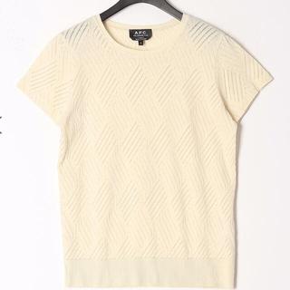アーペーセー(A.P.C)のAPC オフホワイト 透かし柄編み半袖カットソー(カットソー(半袖/袖なし))