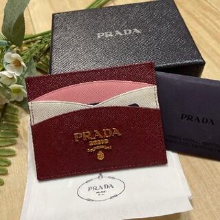 PRADA - 新品 PRADA プラダ デザイン カードケース マルチカラー 赤紫