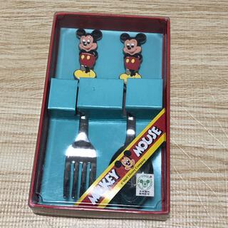 Disney - レトロ ミッキーマウス カトラリー スプーン フォーク 箱つき