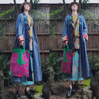 DEUXIEME CLASSE - イタリア製 forte_forte 青刺繍ジャガードパッチワーク総柄ガウンコート