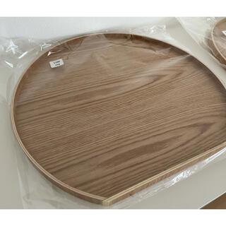 折敷 トレー 盆 ウッド2枚組 半月盆 白木天然木 ウレタンコーティング(テーブル用品)
