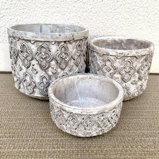 ザラホーム(ZARA HOME)のCOVENT GARDEN ペダンクル・ローポット アラベスク柄陶器鉢 (プランター)