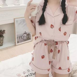 ジェラートピケ(gelato pique)の苺 いちご イチゴ ストロベリー ピンク パジャマ 半袖 ショートパンツ リボン(パジャマ)