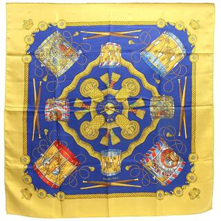 エルメス(Hermes)の エルメス スカーフ カレ90 タンブールの太鼓 ブルー(ストール/パシュミナ)