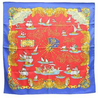 エルメス(Hermes)の エルメス スカーフ カレ90 光の帆船 レッド ブルー(ストール/パシュミナ)