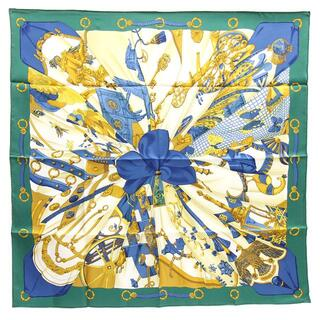 エルメス(Hermes)の エルメス スカーフ カレ90 シルクの太陽 グリーン(ストール/パシュミナ)