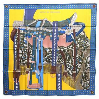 エルメス(Hermes)の エルメス スカーフ カレ90 高官の鞍 ブルー イエロー(ストール/パシュミナ)