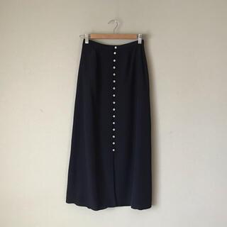ローラアシュレイ(LAURA ASHLEY)のローラアシュレイ ロングスカート 水玉 シルクスカート 紺(ロングスカート)