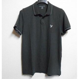 アメリカンイーグル(American Eagle)のアメリカンイーグル/US:XL/グレー/襟袖ライン鹿の子半袖ポロシャツ(ポロシャツ)