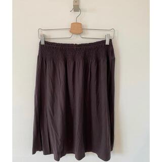ムジルシリョウヒン(MUJI (無印良品))の無印良品 ブラウン シャーリングゴムスカート(ひざ丈スカート)