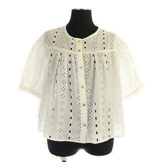 ZARA - ザラ 刺繍フレアブラウス 五分袖 ショート丈 USA S 白 ホワイト