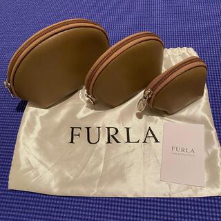 フルラ(Furla)の未使用・FURLA★フルラ・革のポーチ3個セット、グレージュ(ポーチ)