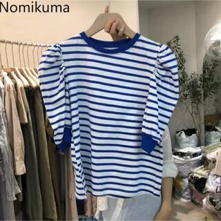 新品未使用⭐︎韓国ストライプブルーシャツ(シャツ/ブラウス(長袖/七分))