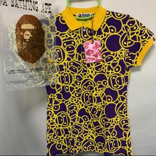 アベイシングエイプ(A BATHING APE)のAPE ポロシャツ 紫 A BATHING APE アベイシングエイプ マイロ(ポロシャツ)