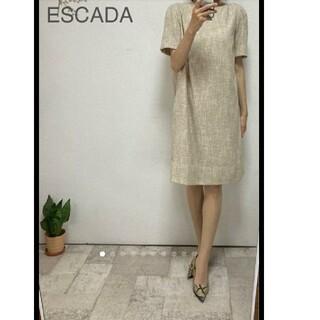 エスカーダ(ESCADA)の美品エスカーダツィード調コクーンワンピ36/シャネル ルネアドーアフォクシー(ひざ丈ワンピース)