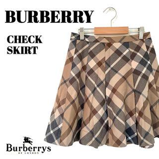 バーバリー(BURBERRY)のBURBERRY|バーバリー ノバチェック  ブラウン 巻プリーツ(ミニスカート)