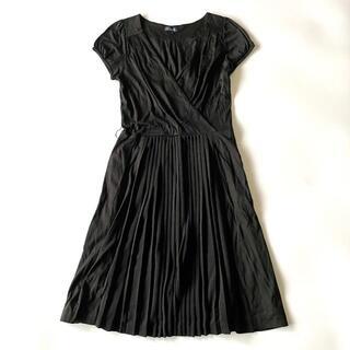 ロペ(ROPE)の極美品 ロペ ROPE プリーツスカート カシュクール ワンピース 黒 ブラック(ひざ丈ワンピース)