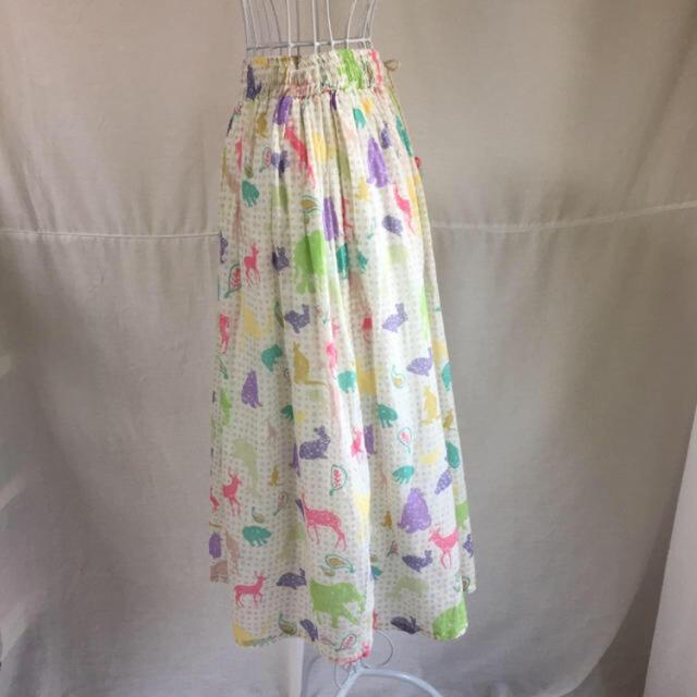 PANAMA BOY(パナマボーイ)の 最終値下 vintage パステル アニマル柄 フレア スカート レディースのスカート(ひざ丈スカート)の商品写真