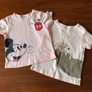 ムジルシリョウヒン(MUJI (無印良品))の半袖Tシャツ 2枚まとめて ミニーちゃん&無印らっこ 80cm(Tシャツ)