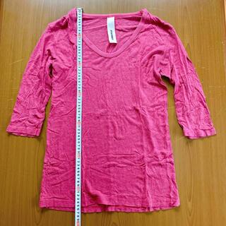 アタッチメント(ATTACHIMENT)のアタッチメント ピンクパープル五分袖カットソー サイズ2(Tシャツ/カットソー(七分/長袖))