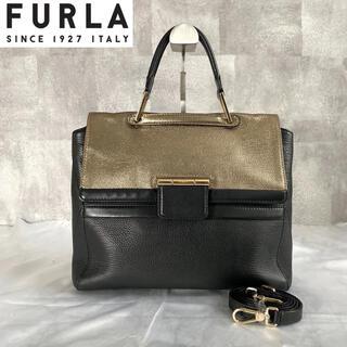 フルラ(Furla)の【FURLA】フルラ アルテーシア 2way ゴールド×ブラック ハンドバッグ(ハンドバッグ)