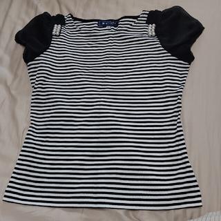 エムズグレイシー(M'S GRACY)の1枚は持っておきたいシリーズ 袖シフォンのパールデザイン💓ボーダートップス(Tシャツ(半袖/袖なし))