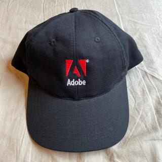 アートヴィンテージ(ART VINTAGE)の極美品 90s Adobe embroidered Logo Cap ブラック(キャップ)