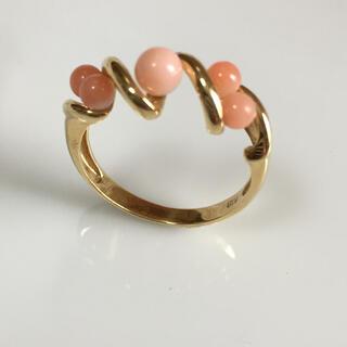 18金リング✨サーモンピンク 珊瑚  新品同様❣️(リング(指輪))