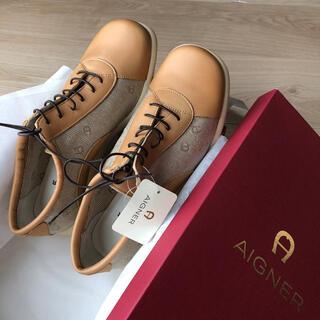 アイグナー(AIGNER)のドイツ・AIGNERアイグナー・革✖️ロゴ入りスニーカー・36.23.5㎝(ローファー/革靴)
