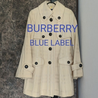 BURBERRY BLUE LABEL - BURBERRY バーバリー ブルーレーベル ロングコート Aライン アイボリー