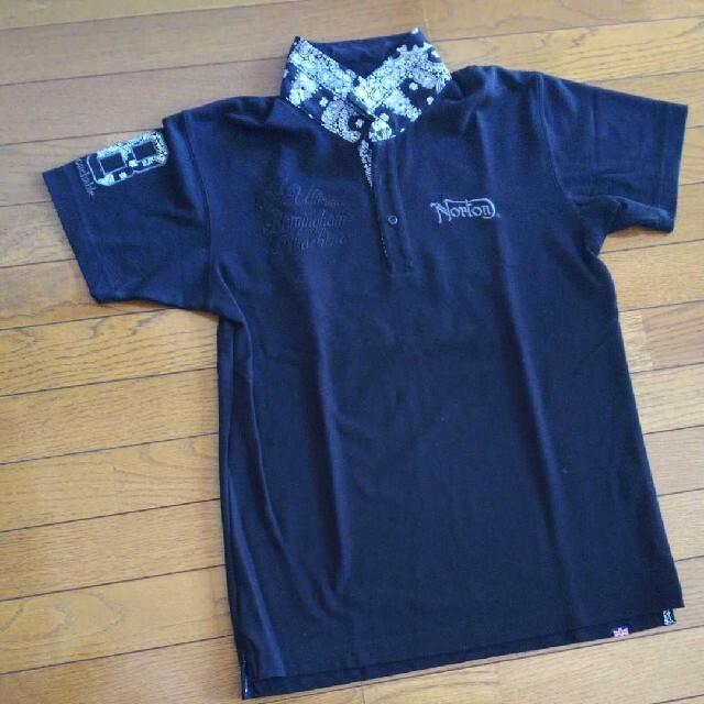 Norton(ノートン)のNorton  バンダナ柄・刺繍ポロシャツ【黒】 メンズのトップス(ポロシャツ)の商品写真