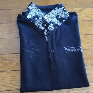 ノートン(Norton)のNorton  バンダナ柄・刺繍ポロシャツ【黒】(ポロシャツ)