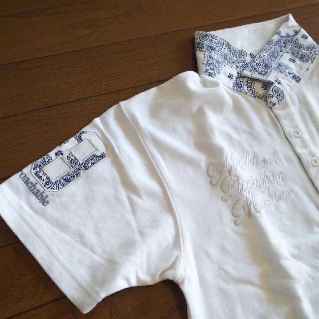 Norton(ノートン)のNorton  バンダナ柄・刺繍ポロシャツ【白】 メンズのトップス(ポロシャツ)の商品写真