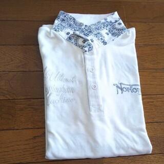 ノートン(Norton)のNorton  バンダナ柄・刺繍ポロシャツ【白】(ポロシャツ)