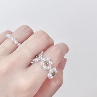 ビーズ リング 指輪 韓国 ハンドメイド パール風 お花 白 ホワイト(リング)