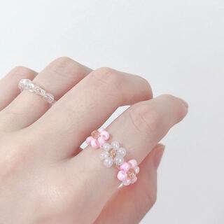 ハンドメイド 指輪 リング ビーズリング 韓国(リング(指輪))