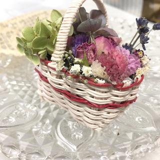 かごの中に花畑♡ピンク〜たくさんのドライフラワーで〜ミニチュア(ドライフラワー)