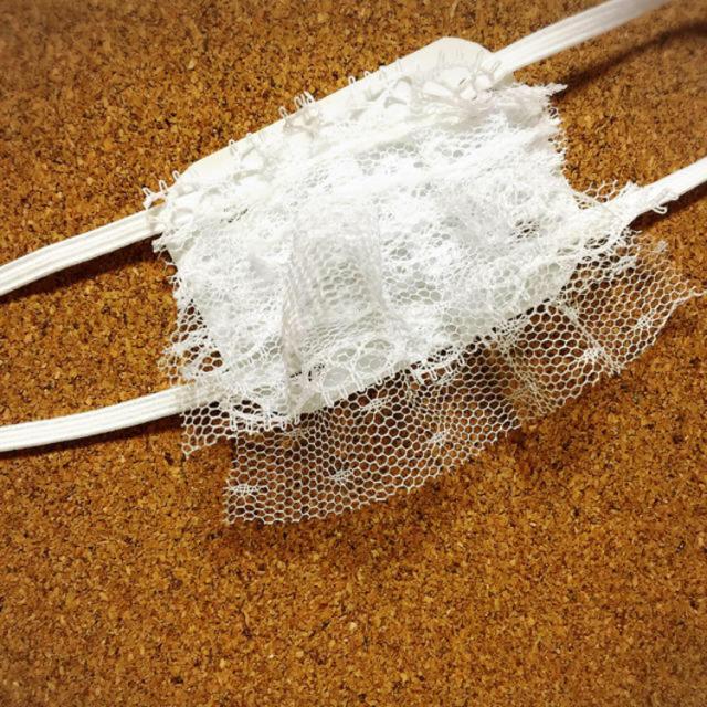 【残りわずか】白 シンプル 二段フリル 眼帯 レディースのファッション小物(その他)の商品写真