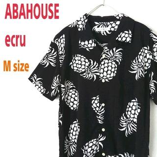 ABAHOUSE - ABAHOUSE ecru アバハウス パイナップル柄 黒 アロハシャツ 開襟