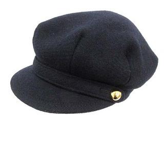 コーチ(COACH)のコーチ キャスケット 帽子 ウール ロゴボタン S 紺 ネイビー /PJ ■GY(キャスケット)